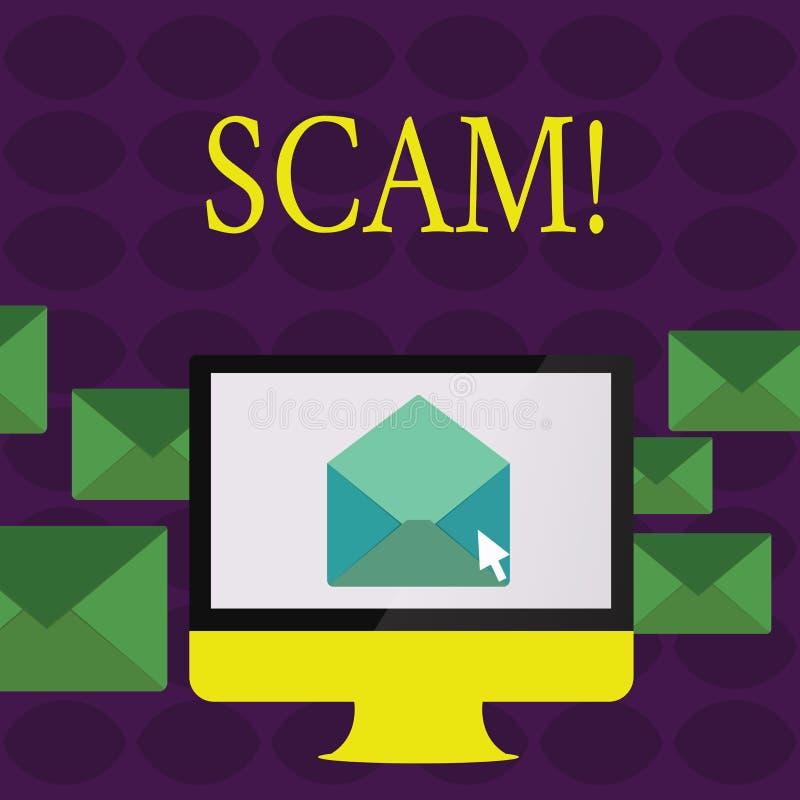 Texttecken som visar Scam För handlingsbedrägeri för begreppsmässigt foto ohederligt folk för trick för framställning av pengar stock illustrationer
