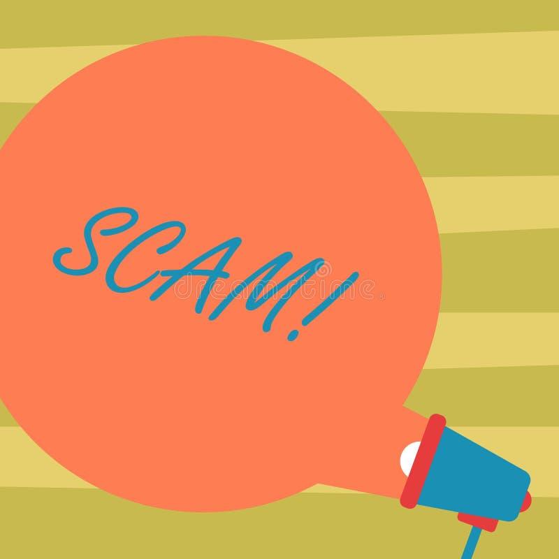 Texttecken som visar Scam För handlingsbedrägeri för begreppsmässigt foto ohederligt folk för trick för framställning pengarmella stock illustrationer