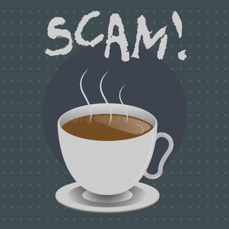 Texttecken som visar Scam Ohederligt intrigbedrägeri för begreppsmässigt foto som stjäler någon pengar eller informationer royaltyfri illustrationer