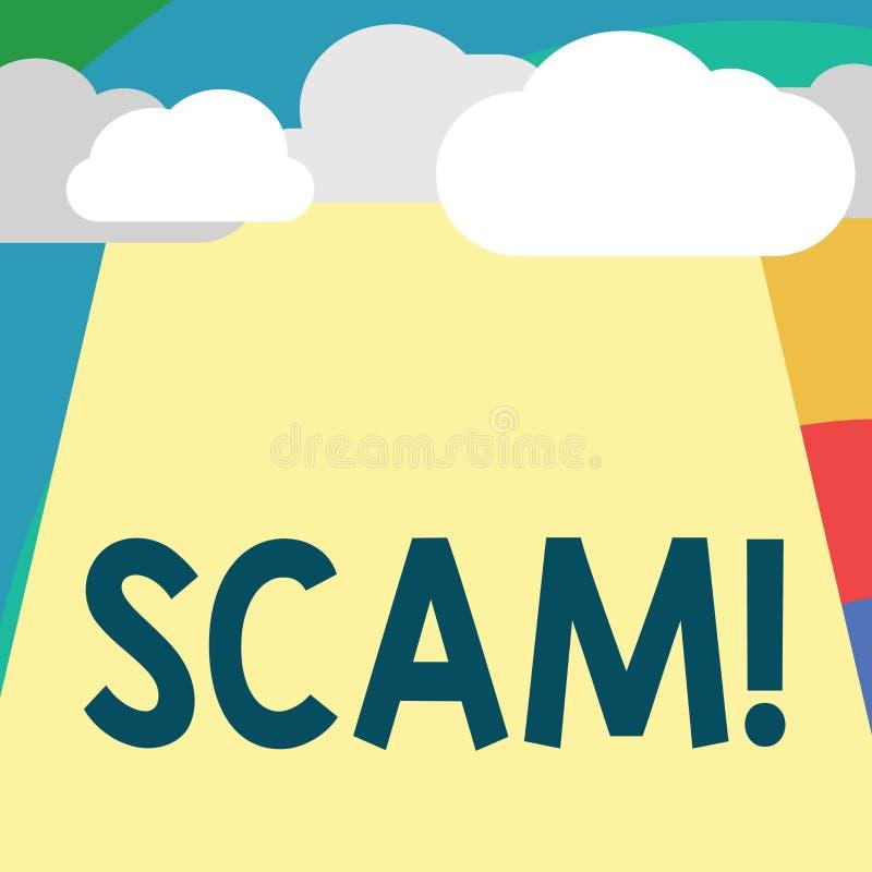 Texttecken som visar Scam Ohederligt intrigbedrägeri för begreppsmässigt foto som stjäler någon pengar eller informationer stock illustrationer