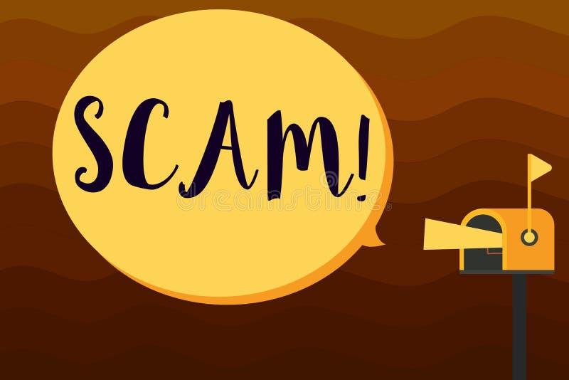 Texttecken som visar Scam Ohederligt intrigbedrägeri för begreppsmässigt foto som stjäler någon pengar eller informationer vektor illustrationer
