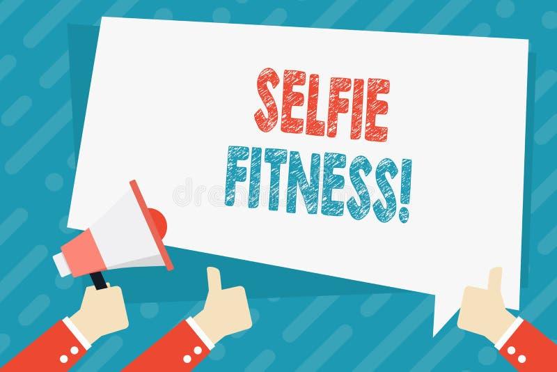 Texttecken som visar Selfie kondition Begreppsmässigt foto som tar bilder av honom under genomkörare eller inom idrottshallhanden stock illustrationer