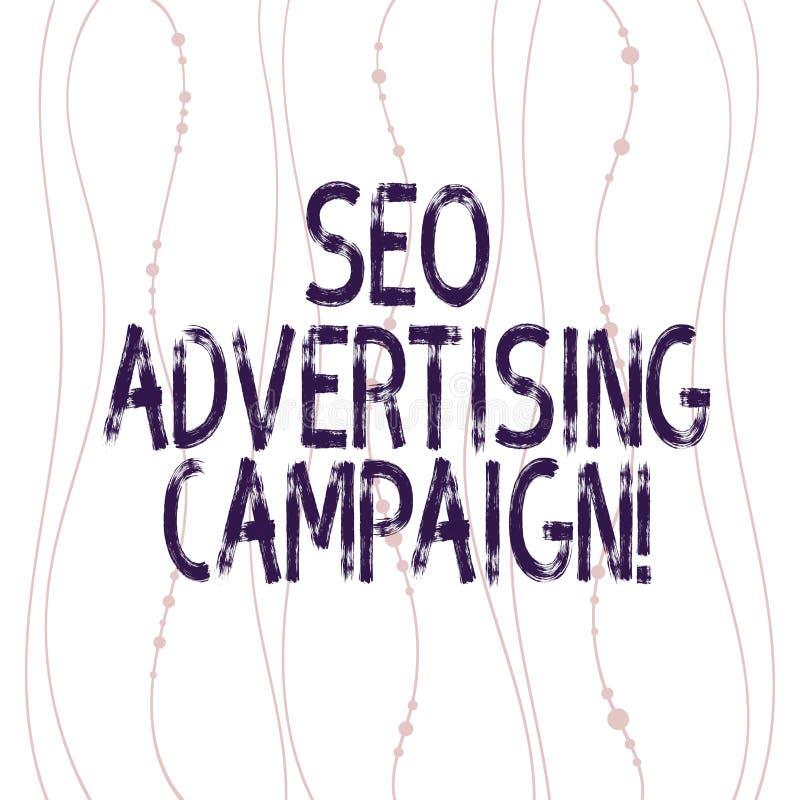 Texttecken som visar Seo Advertising Campaign Det begreppsmässiga fotoet som främjar en plats för att öka numret av den tillbaka  royaltyfri illustrationer