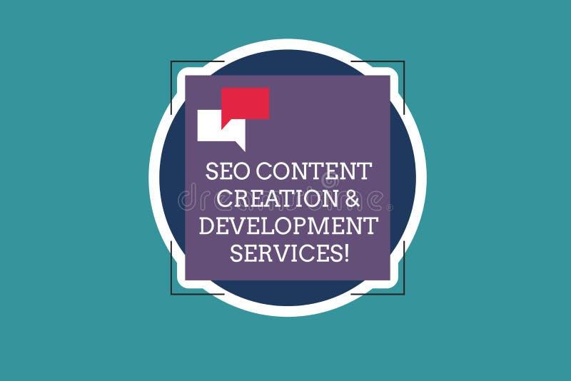 Texttecken som visar Seo Content Creation And Development service Begreppsmässiga anförande för optimization två för fotosökandem vektor illustrationer