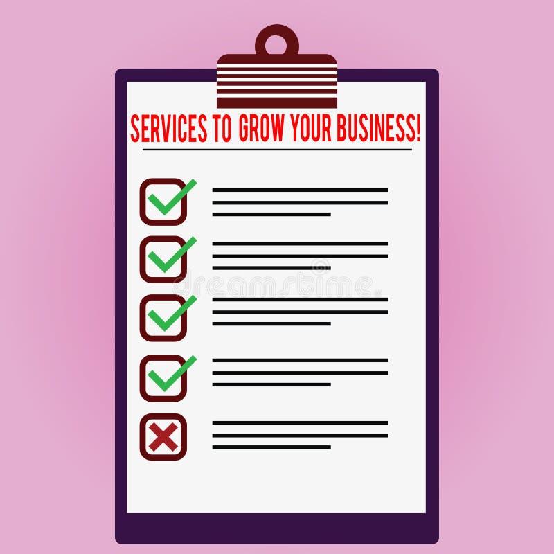 Texttecken som visar service för att växa din affär Stor högkvalitativ hjälp för begreppsmässigt foto för företag fodrad färg fotografering för bildbyråer