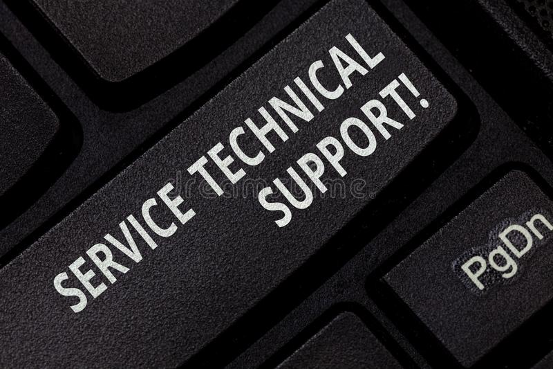 Texttecken som visar service teknisk service Begreppsmässig fotoservice som enheter ger till användare av produkttangentbordtange arkivbild