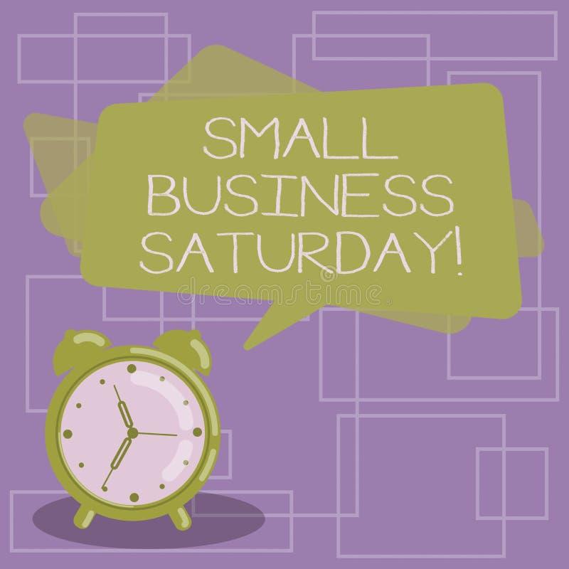 Texttecken som visar små och medelstora företag lördag Amerikansk shoppa ferie för begreppsmässigt foto efter rektangulär färg fö vektor illustrationer
