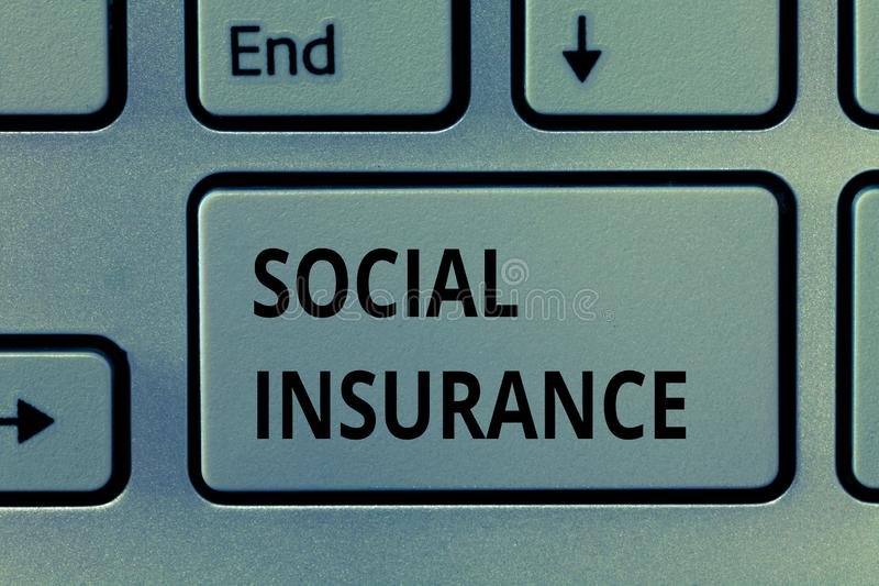 Texttecken som visar social försäkring Begreppsmässigt fotoskydd av individen mot ekonomiska faror arkivbild