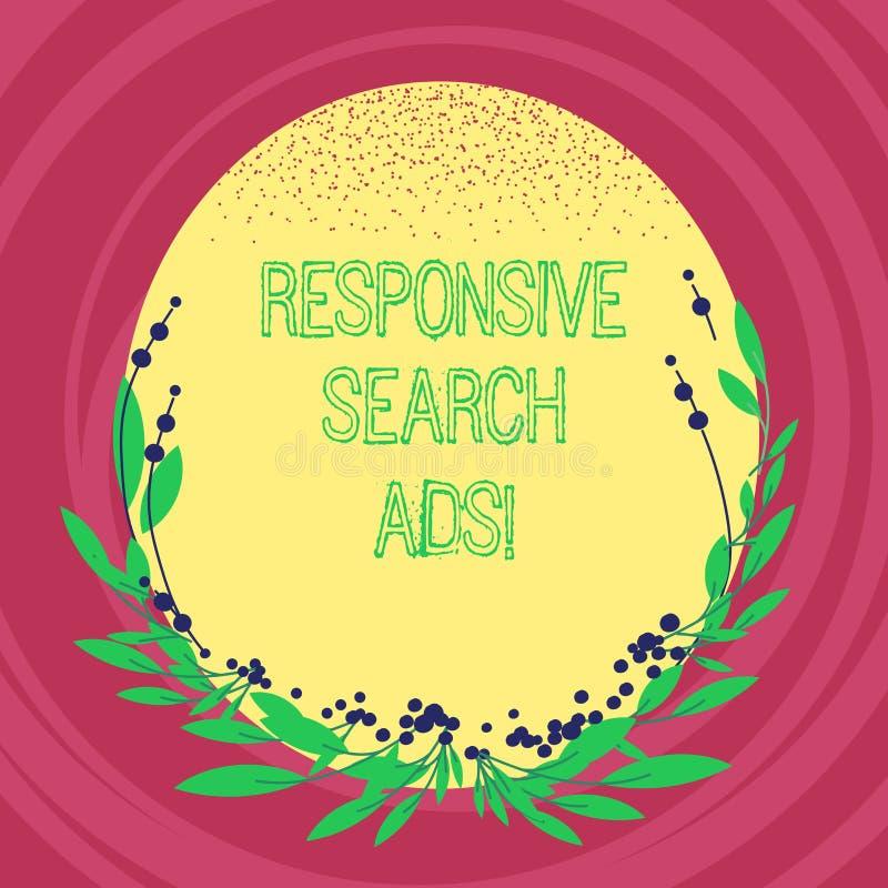 Texttecken som visar svars- sökandeannonser Begreppsmässigt foto som ökar sannolikheten att din annons visar oval mellanrumsfärg stock illustrationer