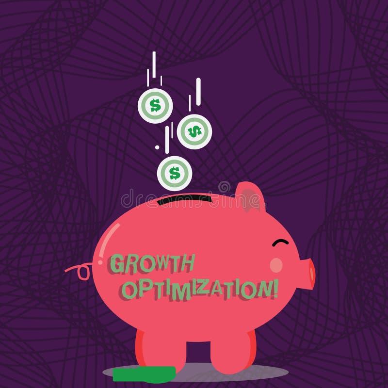 Texttecken som visar tillväxtOptimization Begreppsmässigt foto som finner ett alternativ med den mest kostnaden - Piggy effektiv  stock illustrationer