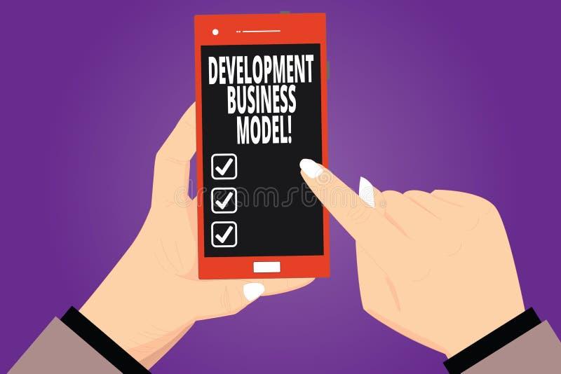 Texttecken som visar utvecklingsaffärsmodellen Begreppsmässig fotologisk grund av hur en organisation skapade Hu analys royaltyfri illustrationer