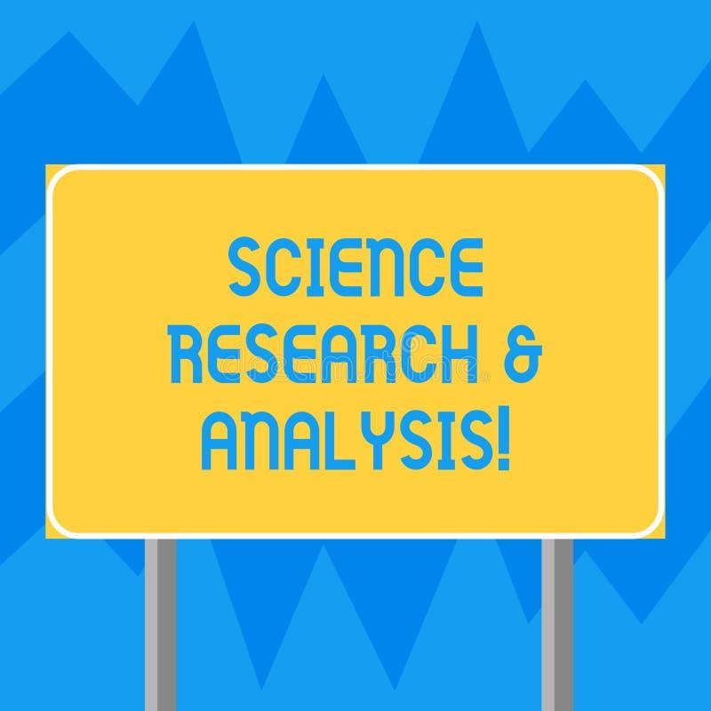 Texttecken som visar vetenskapsforskning och analys Mellanrum för experiment för utredning för begreppsmässigt fotolaboratorium m royaltyfri illustrationer