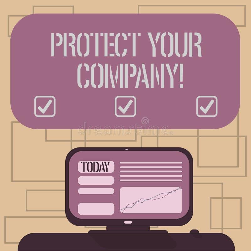 Textteckenuppvisning skyddar ditt företag Begreppsmässigt foto som underhåller ett positivt anseende av den företag monterade dat vektor illustrationer