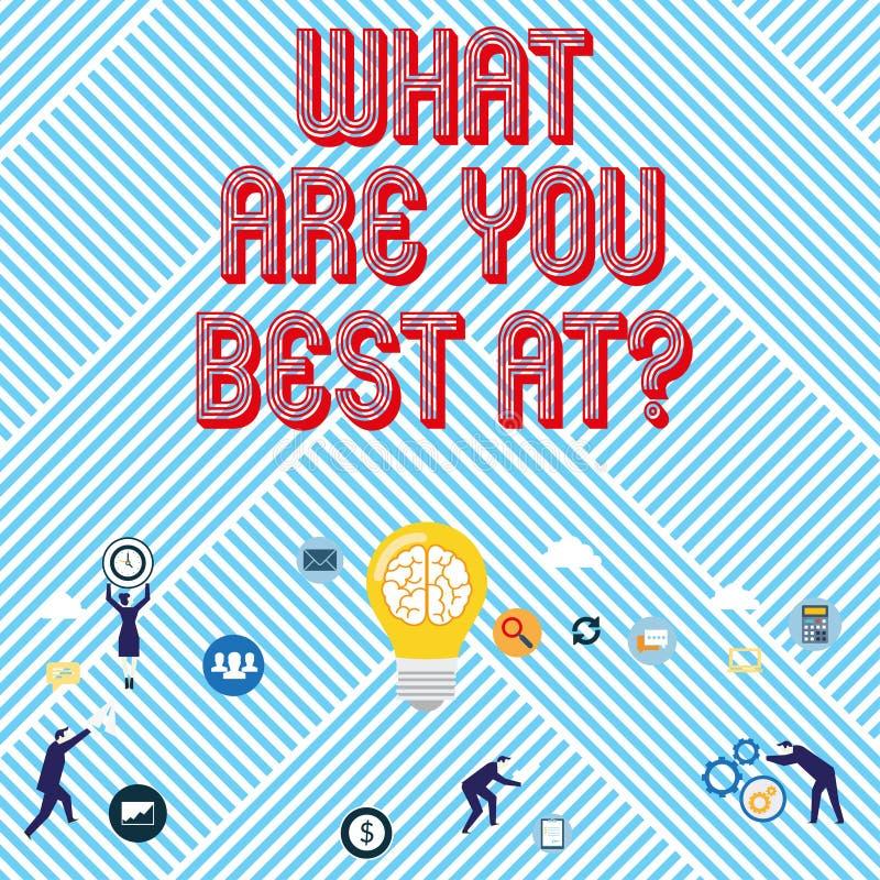 Textteckenuppvisning vad är dig bästa Atquestion Är individuell kreativitet för begreppsmässigt foto en unik kapacitet royaltyfri illustrationer