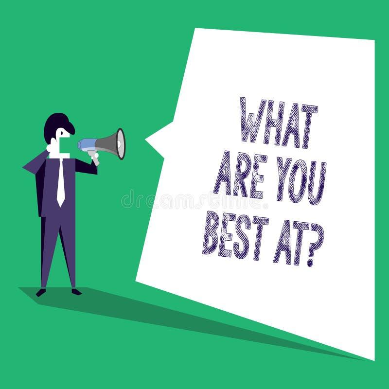 Textteckenuppvisning vad är dig bästa Atquestion Är individuell kreativitet för begreppsmässigt foto en unik kapacitet stock illustrationer