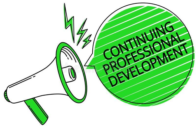 Textteckenvisning som fortsätter yrkesmässig utveckling Begreppsmässig fotospårning och dokumentera G för kunskapsmegafonhögtalar vektor illustrationer