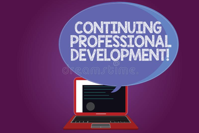 Textteckenvisning som fortsätter yrkesmässig utveckling Begreppsmässigt foto som underhåller och förhöjer kunskapen stock illustrationer
