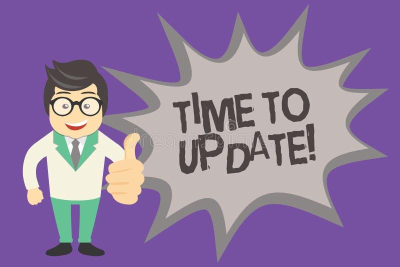 Textteckenvisning Tid som ska uppdateras Begreppsmässigt foto som förbättrar programvara eller produkten med nyare bättre version stock illustrationer