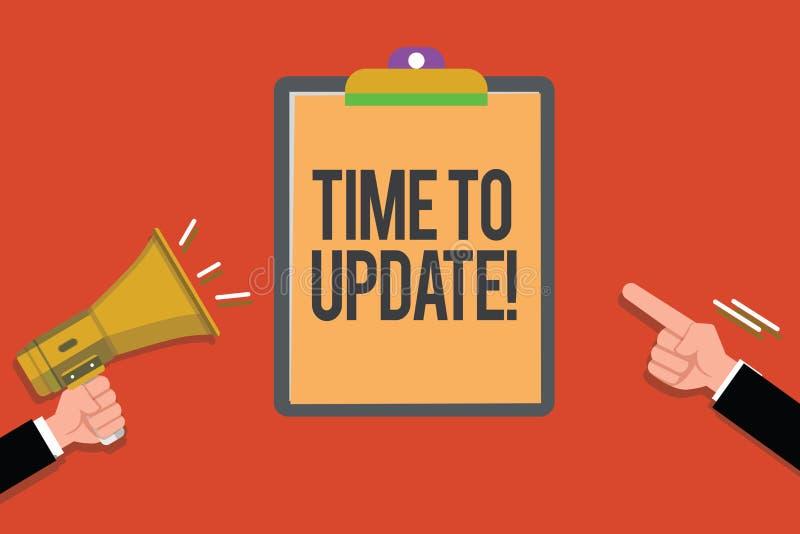 Textteckenvisning Tid som ska uppdateras Begreppsmässigt foto som förbättrar programvara eller produkten med nyare bättre version vektor illustrationer