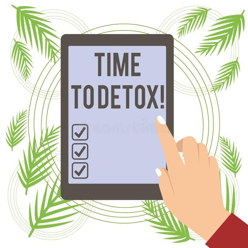 Textteckenvisning Tid till detoxen Begreppsm?ssigt foto, n?r du renar din kropp av toxin eller stoppar att konsumera drogen vektor illustrationer