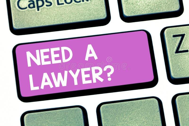 Textteckenvisningen behöver en Lawyerquestion Begreppsmässigt foto som söker efter laglig rådgivning eller förbereder tangentbord stock illustrationer