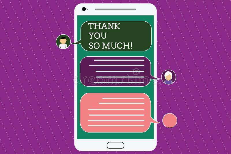 Textteckenvisningen tackar dig så mycket Begreppsmässigt fotouttryck av tacksamhethälsningar av den mobila budbäraren för gilland royaltyfri illustrationer