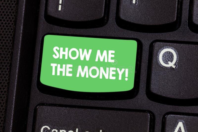 Textteckenvisningen visar mig pengarna Det begreppsmässiga fotoet som visar kassan, innan att inhandla eller det gör, investerar  fotografering för bildbyråer