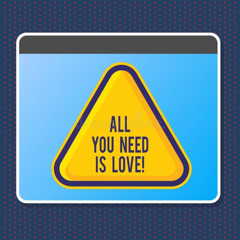 Texttecknet som visar alla som, du behöver, är förälskelse Behöver djup affektion för det begreppsmässiga fotoet gillanderoanalys vektor illustrationer