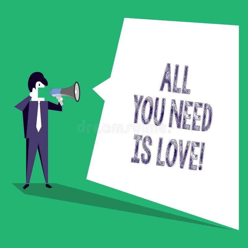 Texttecknet som visar alla som, du behöver, är förälskelse Behöver djup affektion för det begreppsmässiga fotoet gillanderoanalys royaltyfri illustrationer