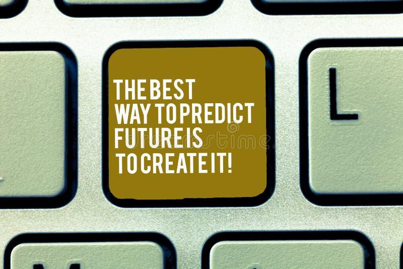 Texttecknet som visar den bästa vägen att förutsäga framtid, är att skapa den Begreppsmässigt foto som skapar din ödetangentbordt royaltyfri illustrationer