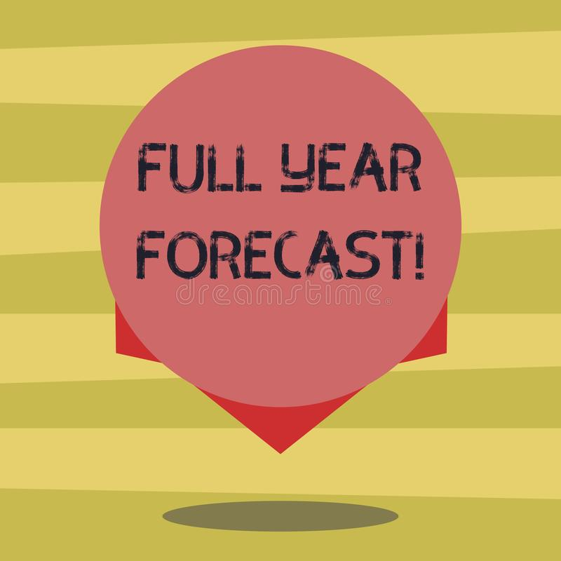 Texttecknet som visar den fulla årsprognosen den begreppsmässiga fotobedömningen av aktuell finansiell perforanalysisce, formuler vektor illustrationer