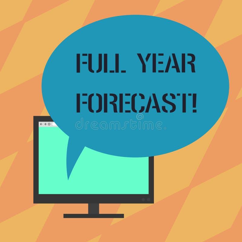Texttecknet som visar den fulla årsprognosen den begreppsmässiga fotobedömningen av aktuell finansiell perforanalysisce, formuler royaltyfri illustrationer
