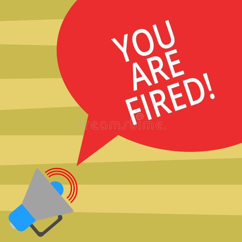 Texttecknet som visar dig, avfyras Begreppsmässigt foto som ut får från jobbet och att bli arbetslöst för att inte avsluta karriä stock illustrationer