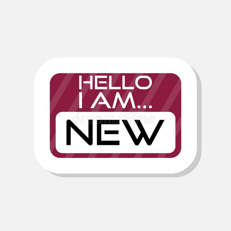 Texttecknet som visar Hello är jag, den nya klistermärken vektor illustrationer