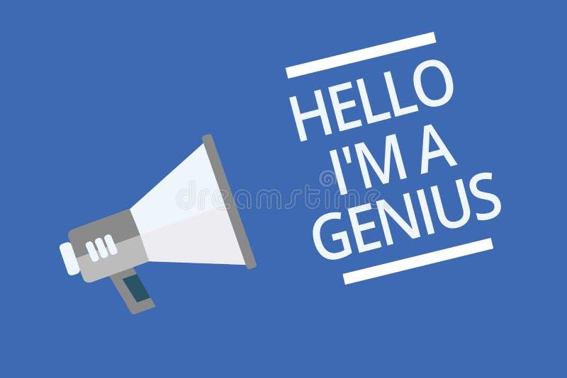 Texttecknet som visar Hello är jag, en snille Det begreppsmässiga fotoet introducerar sig som över genomsnittlig person till andr royaltyfri illustrationer
