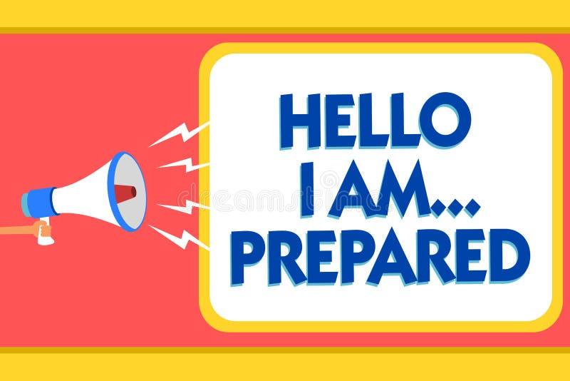 Texttecknet som visar Hello är jag förberett Det begreppsmässiga fotoet introducerar sig till någon, som du är klara meddelandeva stock illustrationer