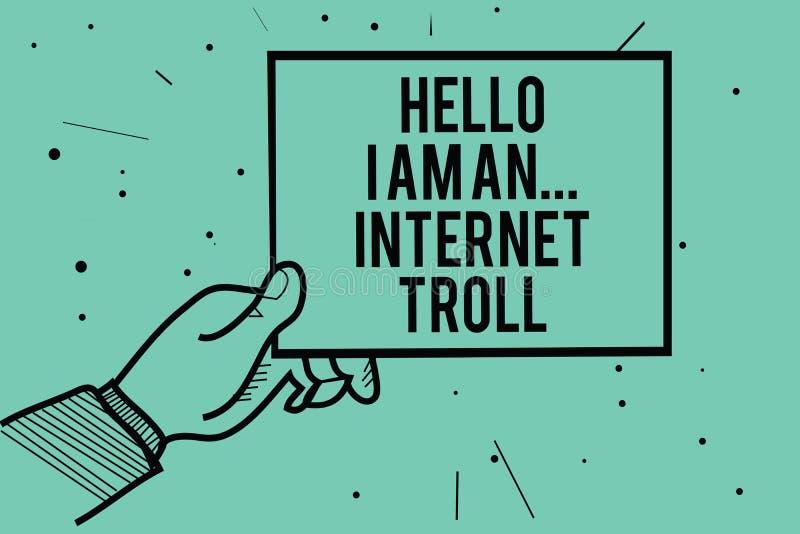Texttecknet som visar Hello är jag, Internet fiska med drag i För massmediaproblem för begreppsmässigt foto socialt innehav för h vektor illustrationer