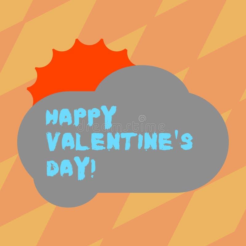 Texttecknet som visar lycklig valentin S, är dagen Begreppsmässigt foto, när vänner uttrycker deras affektion med hälsningssolen stock illustrationer