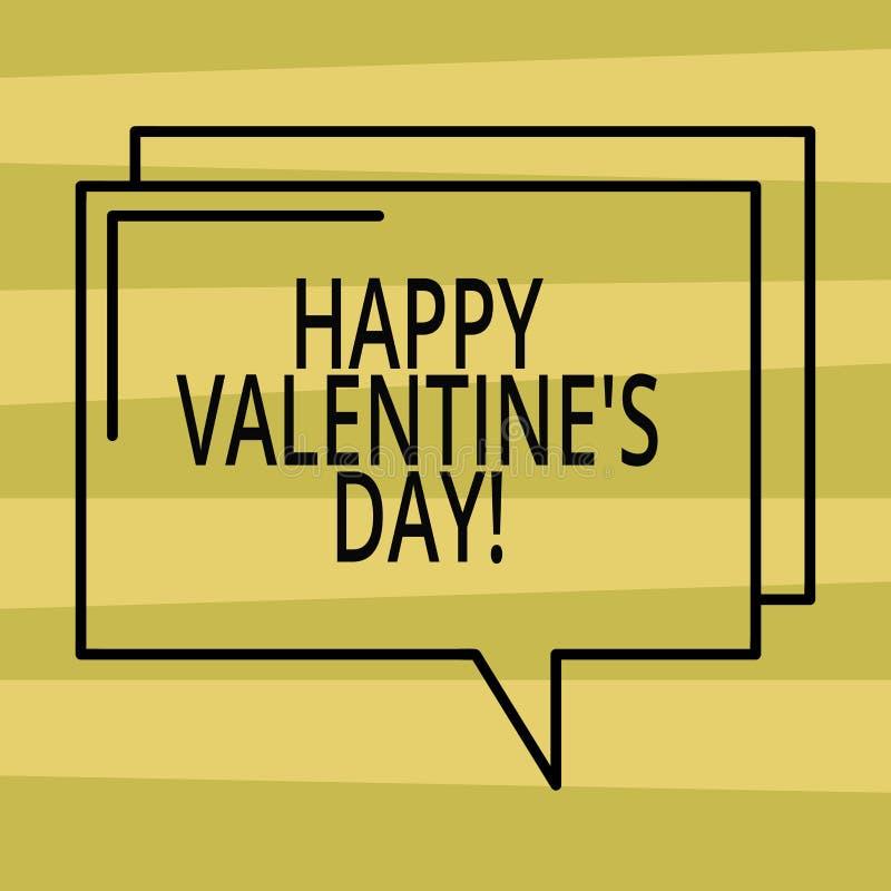 Texttecknet som visar lycklig valentin S, är dagen Begreppsmässigt foto, när vänner uttrycker deras affektion med rektangulära hä stock illustrationer