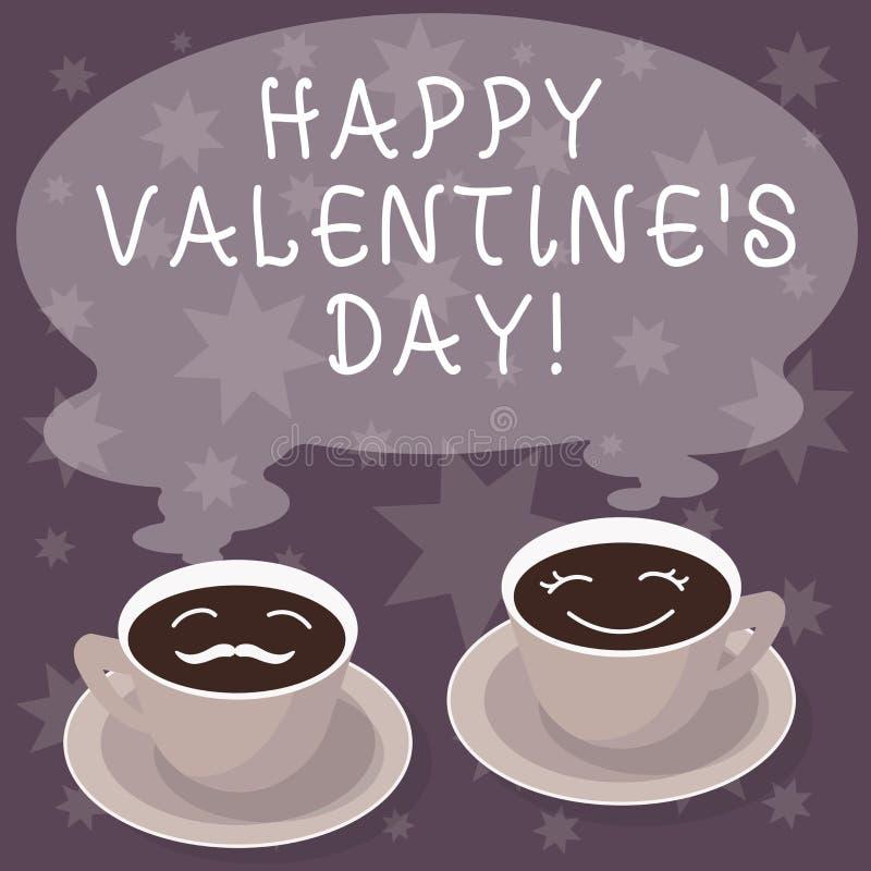 Texttecknet som visar lycklig valentin S, är dagen Det begreppsmässiga fotoet, när vänner uttrycker deras affektion med hälsninga stock illustrationer