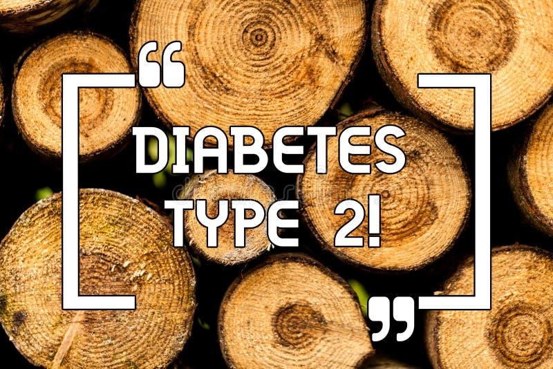 Texttecknet som visar sockersjuka, skriver - 2 Begreppsmässigt fotovillkor som kroppen inte använder träbakgrund för insulin rikt royaltyfria foton