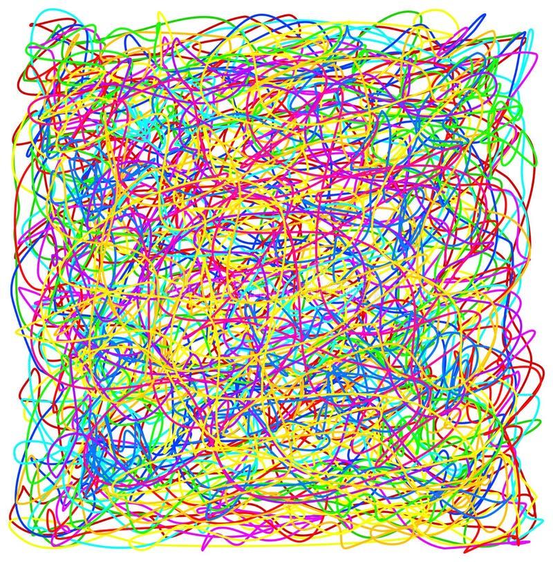 Textu coloré de modèle de chaos de griffonnage tiré par la main abstrait de griffonnage illustration stock
