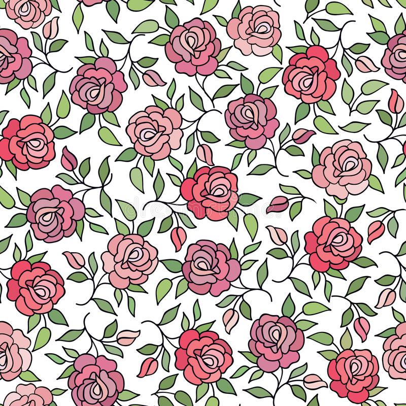 Textu decorativo do Flourish do fundo da rosa floral da flor do teste padrão ilustração royalty free