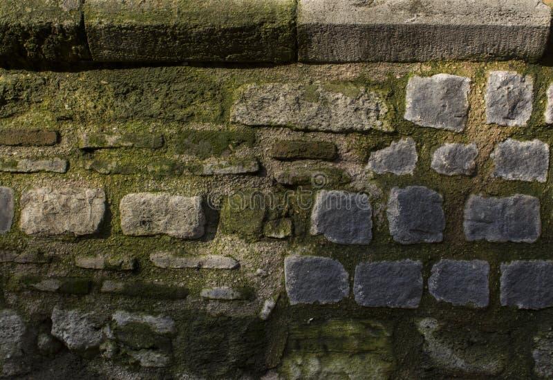 Textur av att stenlägga för kiselsten Forntida tegelstenvägg med mossa royaltyfri bild