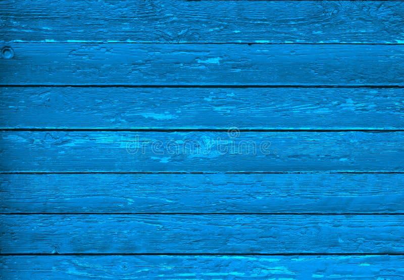 Textur av blått trä med hasar Tappning arkivfoton