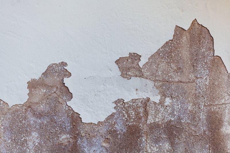 Textur av den gamla sjaskiga och kanstödda vita väggen arkivbilder
