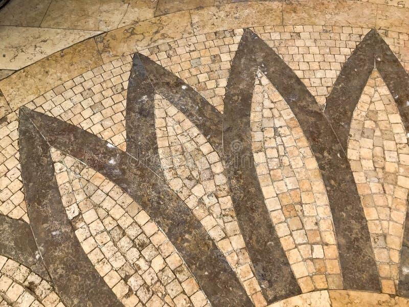 Textur av den gula tegelplattan för stenbetongcement, tegelstenar med en modell i form av kronblad av en blomma grönska för abstr fotografering för bildbyråer