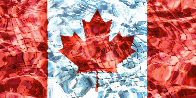 Textur av den Kanada flaggan i pölen, vatten royaltyfri illustrationer