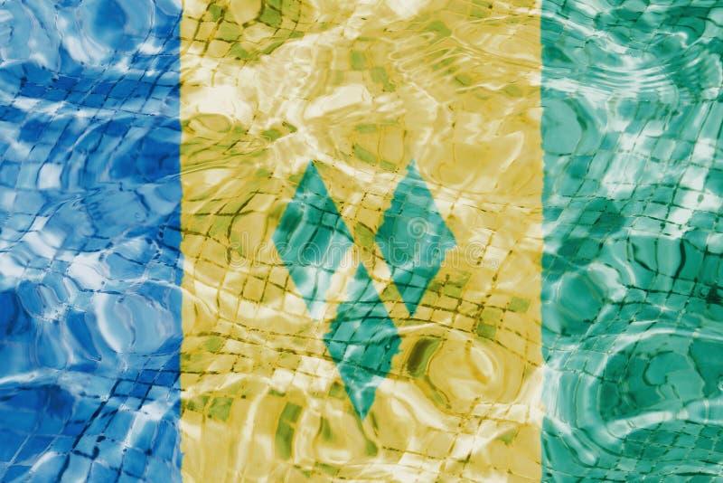 Textur av den Saint Vincent och Grenadinerna flaggan vektor illustrationer