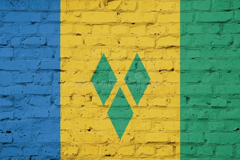 Textur av den Saint Vincent och Grenadinerna flaggan på en vägg vektor illustrationer